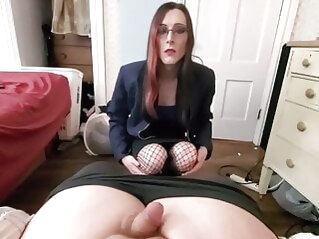 Riding and sucking like a good slut bareback blowjob creampie