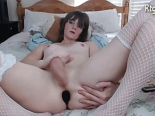 brunette tomboy in glasses tugging her small cock on cam brunette shemale tranny solo tugging