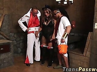 Shemales big butt destroyed on Halloween night by hung studs anal big dick tranny
